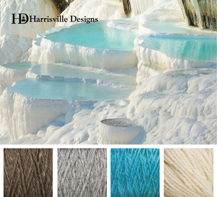 These hot springs are looking very inviting right now from cold NH! Pamukkale in Turkey. Color palette: Toffee, Silver Mist, Aegean, White. Harrisville Designs yarn.