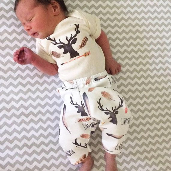 Baby Boy Name Outfit Deer and Antlers Hunting Theme by AGreatBaby
