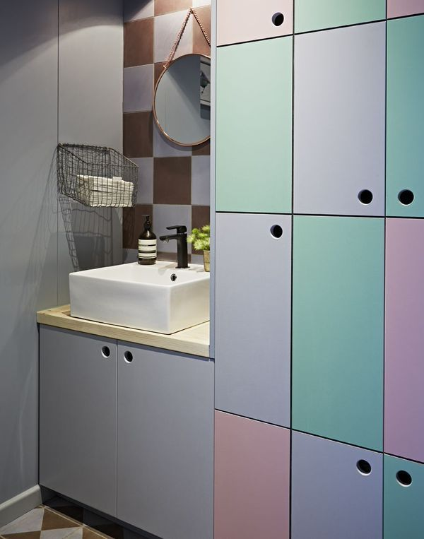I don't usually like pastel but this is something else | Multicoloured bathroom storage cupboards and cement tiles  Interior design by anafosteradams.com