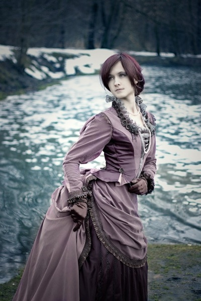 Great Victorian dress in shades of brown silk. Check out my site http://www.designyourownperfume.co.uk to design your own beautiful and unique perfume to compliment your quirky steampunk style:)