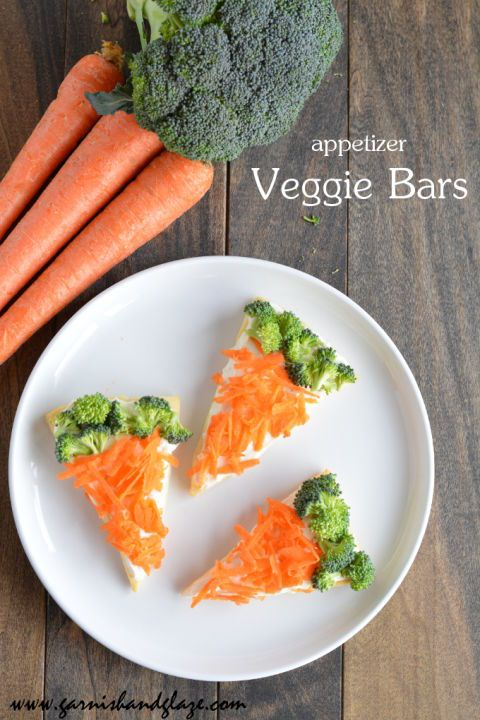 Veggie Bars: Kick off the festivities with these simple treats shaped like carrots (they're made from pastry dough, cream cheese and crunchy fresh veggies!). Click through to find other easy Easter recipes for brunch, dinner, dessert, and more.