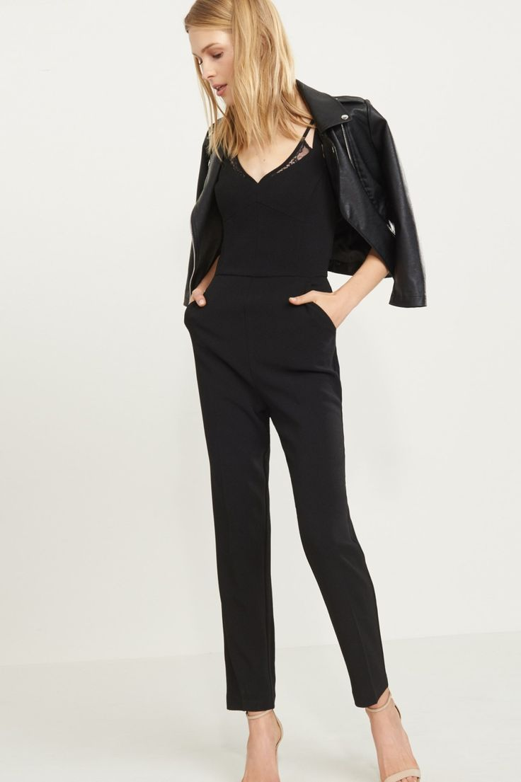 Lady in black Lace Detailed Jumpsuit