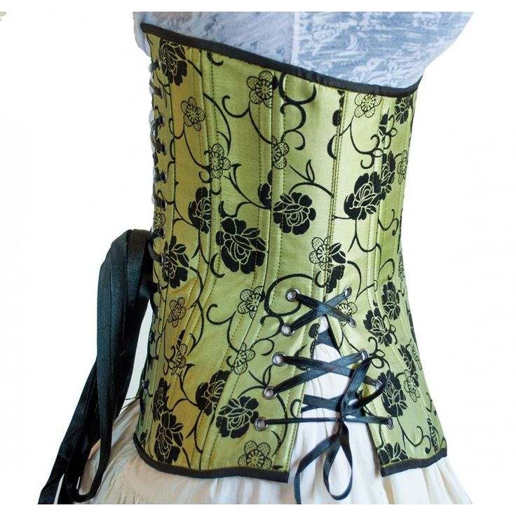 Timeless Trends green corset in our desirable long cut.  Features a black floral flocked design.