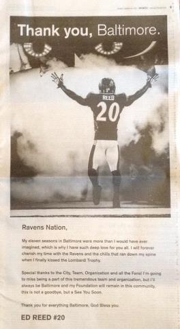 Ed Reed's full page thank you to Baltimore in the Sunday 3-24-13 Baltimore Sun. Thank YOU, Ed !!!