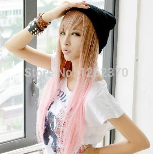 70 Cm Harajuku Synthetic Anime Cosplay Wig Women Sexy Long Straight  Heat Resistant Hair Brown Pink Ombre Wigs Peruca Pelucas