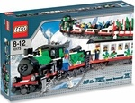 "Name: Holiday Train   Manufacturer: LEGO   Series: LEGO City   Pieces: 965   Details (Description): All aboard for holiday adventure! Ride the rails to holiday fun with this exclusive train set! This cheerful train is all decked out for the season in red, white and green, with festive lights, holly, and good tidings galore.     * Complete train measures over 45"" (105cm) long!     * Includes a holiday-themed locomotive, tender, passenger car with removable roof, Christmas tree carri..."