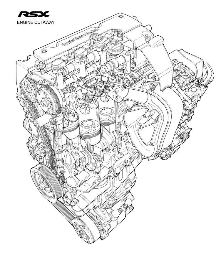 2002 Acura RSX engine cutaway