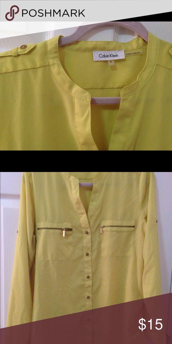 Blouse Calvin Klein M Yellow Calvin Klein Calvin Klein Tops Blouses