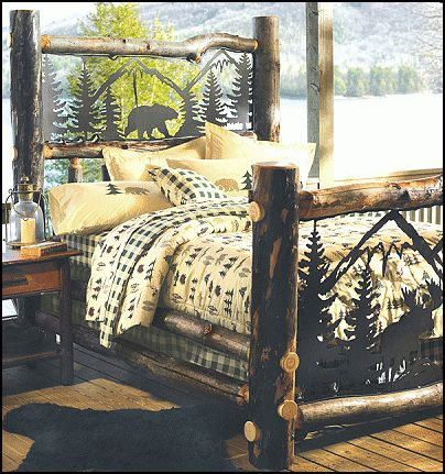 25 best ideas about log bed frame on pinterest rustic for Log cabin style bunk beds