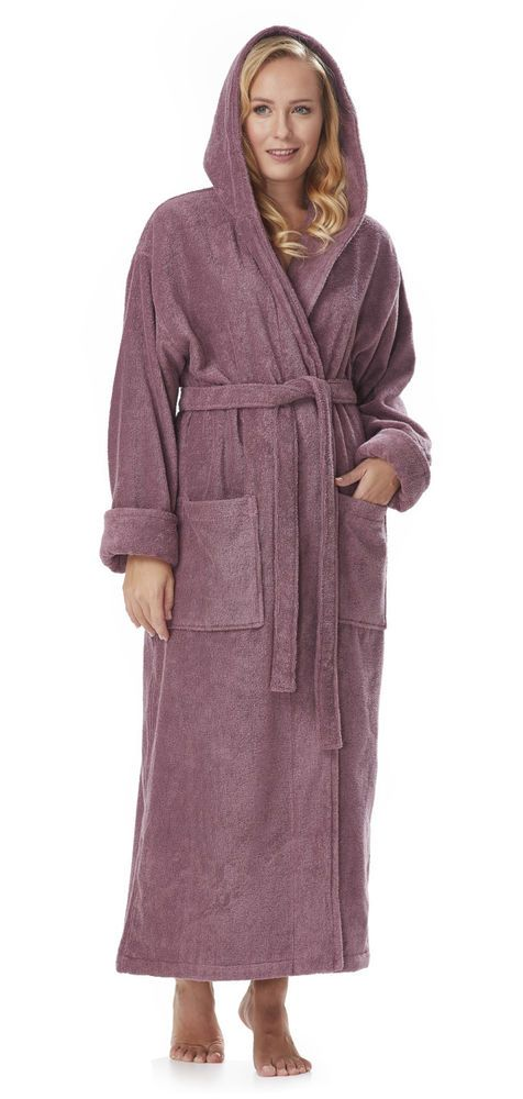 47de8a820e ARUS Women s Hooded Long Bathrobe 100% Organic Turkish Cotton Made in Turkey   fashion  clothing  shoes  accessories  womensclothing  intimatessleep  (ebay ...