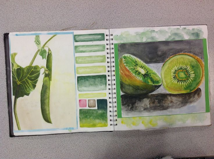 AS sketchbook: A grade AMANDA TREVIZO: It is always important to practice with different values of a color, especially with paints/watercolor. Students can use their sketchbook as a reference, I really enjoy the way this artist chose to box each color in.
