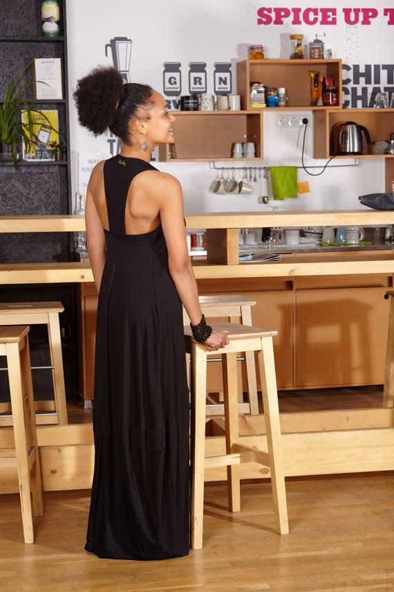 Long Dress Black Tunic Spring Black Tank Dress Black by gizda