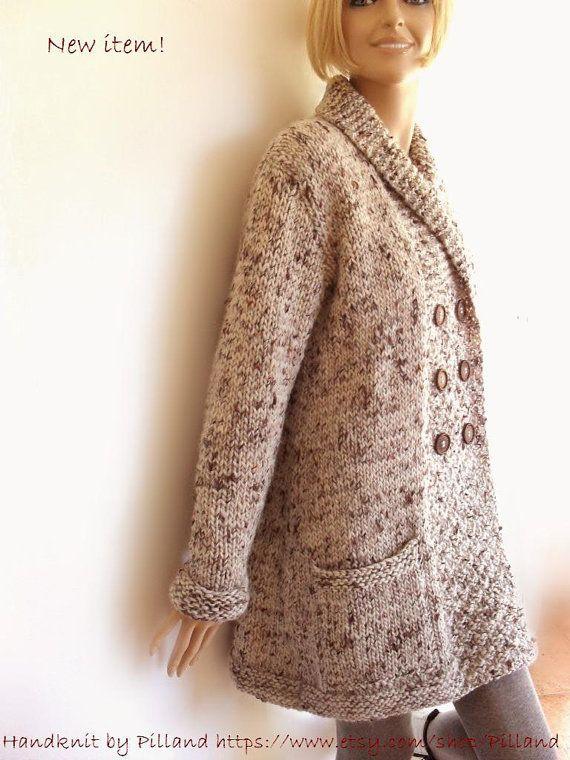Hand-stricken Womens Mantel Tweed wolle Jacke von Pilland auf Etsy