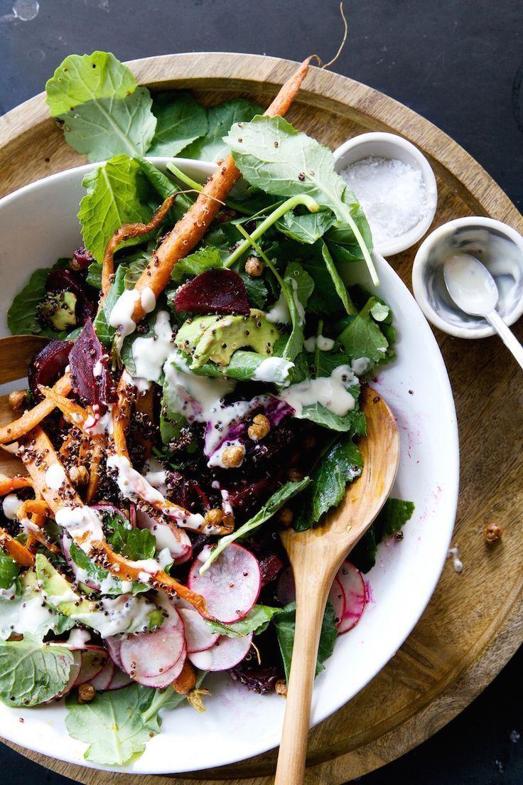 Root vegetable & quinoa salad with tahini-maple vinaigrette   camille styles.
