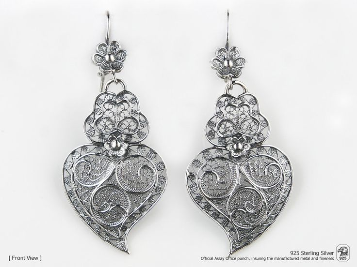 Portuguese Filigree EARRINGS Heart VIANA Traditional in 925 Sterling Silver by NadirFiligree on Etsy