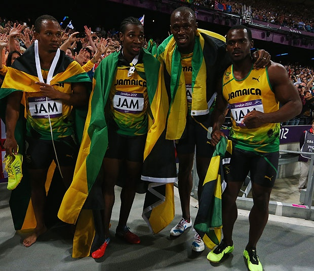 Jamaica 4x100m Relay Team That Broke The World Record In London 2012. Michael Frater--->Yohan Blake--->Usain Bolt--->Nesta Carta