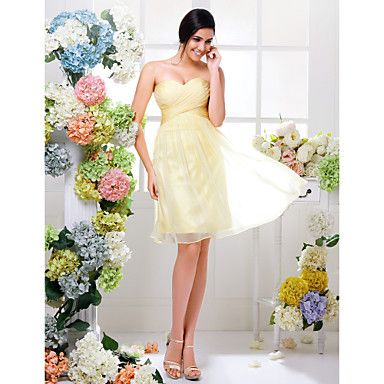 Lanting+Bride®+Knee-length+Chiffon+Bridesmaid+Dress+-+A-line+Sweetheart+Plus+Size+/+Petite+with+Criss+Cross+/+Ruching+–+USD+$+69.99