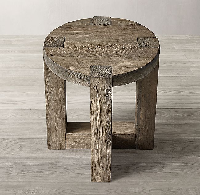 Reclaimed Rustic Oak Round Side Table Round Side Table Round Wood Side Table Diy Side Table