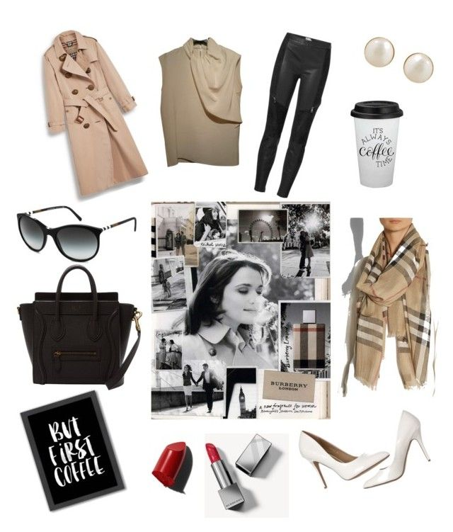 """Classic burberry"" by kaoutar-rayour on Polyvore featuring Americanflat, Burberry, Karl Lagerfeld, CÉLINE, Bobbi Brown Cosmetics and PONO"