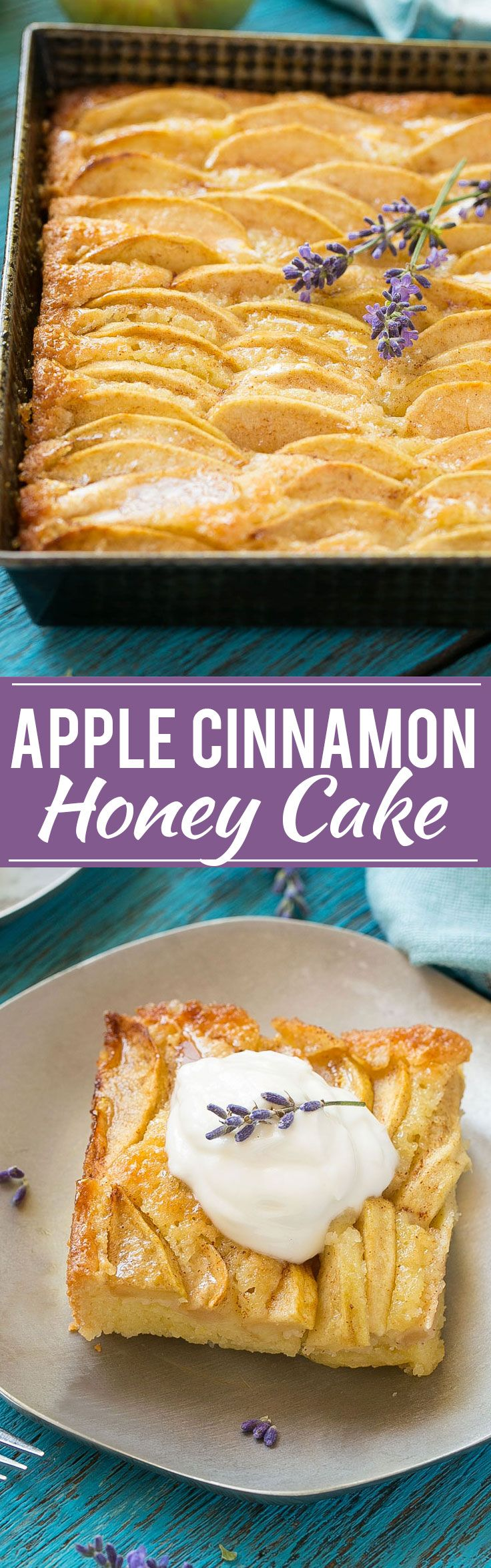A recipe for a buttery cake full of cinnamon sugar apples and topped with honey