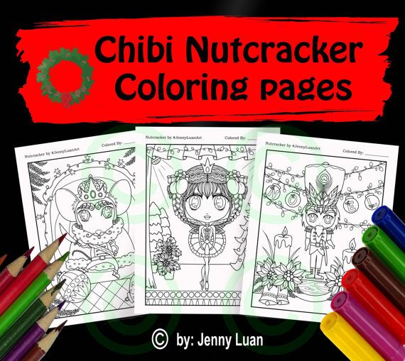 chibi nutcracker coloring page bundles for adult by jennyluanart