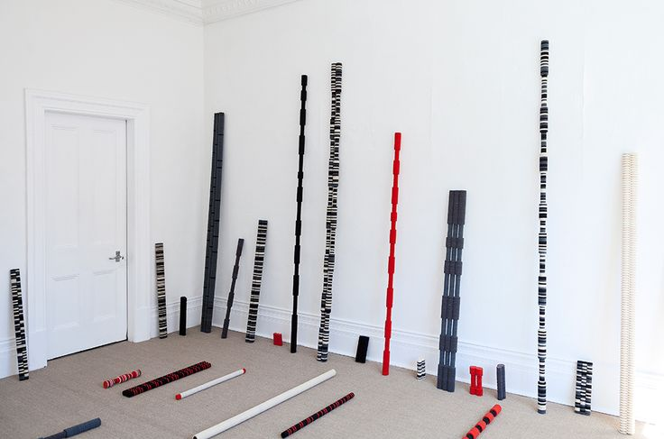 Defunct Mnemonics , 2012, Felt and wood, 125 objects, installation dimensions vary, , unique artwork, Installation view at Peter McLeavey Gallery, Wellington, New Zealand