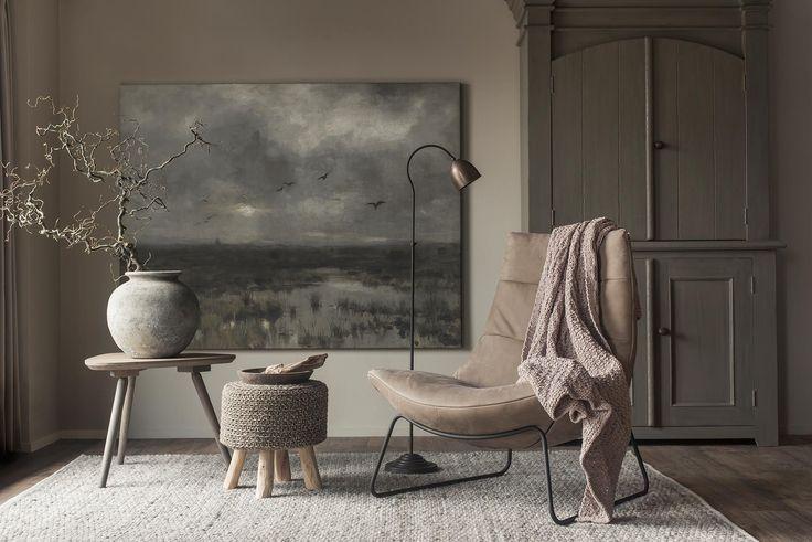 interieur stoer sober, woonstijl, canvasdoek bestellen, relaxfauteuil leer, het moeras anton mauve, rijksmuseum