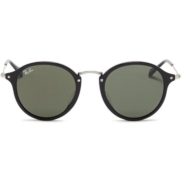 Ray-Ban Acetate wire temple round frame sunglasses (1.932.840 IDR) ❤ liked on Polyvore featuring accessories, eyewear, sunglasses, glasses, oculos, black, round frame glasses, retro glasses, ray ban glasses and black round sunglasses