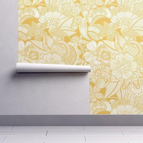 Yellow Flowers Wallpaper Rachel By Valentinaharper Modern Etsy Self Adhesive Wallpaper Peel And Stick Wallpaper Flower Wallpaper