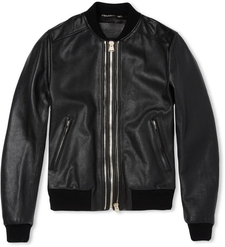 Black Leather Bomber Jacket by Dolce & Gabbana. Buy for $2,995 from MR PORTER