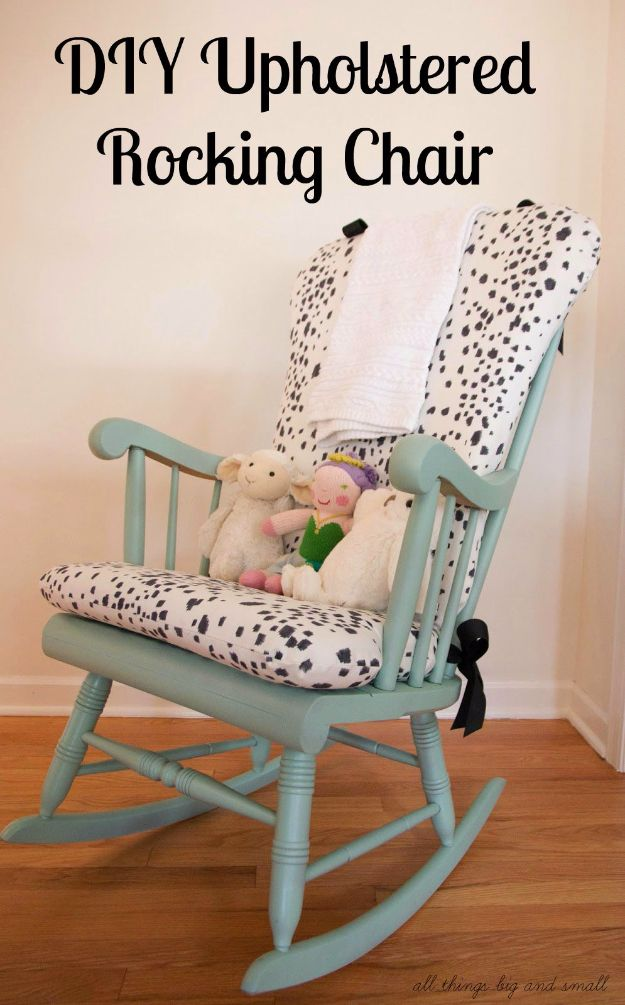DIY Seating Ideas - DIY Upholstered Rocking Chair - Creative Indoor Furniture, Chairs and Easy Seat Projects for Living Room, Bedroom, Dorm and Kids Room. Cheap Projects for those On A Budget. Tutorials for Cushions, No Sew Covers and Benches http://diyjoy.com/diy-seating-chairs-ideas