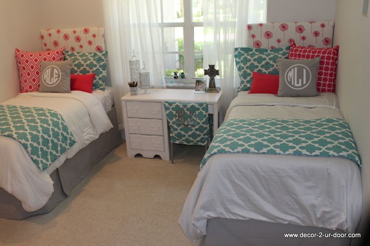 Custom Dorm Bedding In Aqua And Hot Pink With Gray Accents