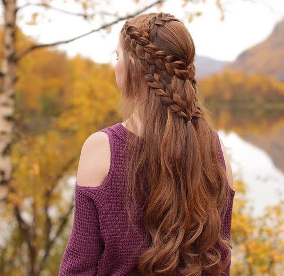 Neat hairstyle for longer hair.
