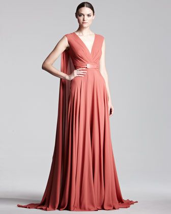 Cape-Back Georgette Gown by Elie Saab at Bergdorf Goodman. What I would want to wear as Superheroine to ball-spandex/lycra suit not included...