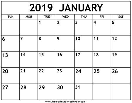 January 2019 Calendar Excel #Printable #Calendar #Calendar2019