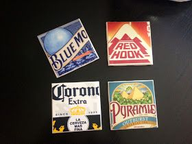 DIY beer coasters. Sounds pretty easy and I love this idea for our basement!