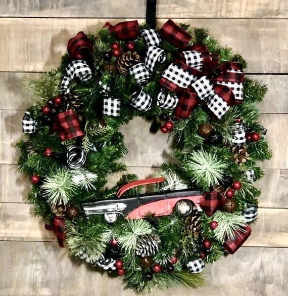 Specs Christmas Eve Hours 2020 Classic Car Wreath, Buffalo plaid ribbon, custom painted to your