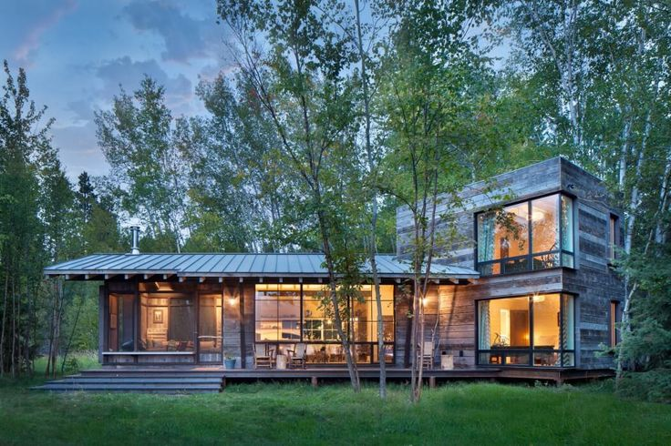 wood and glass modern cabin in the woods Northshore Cabin by Pearson Design Group   HomeAdore
