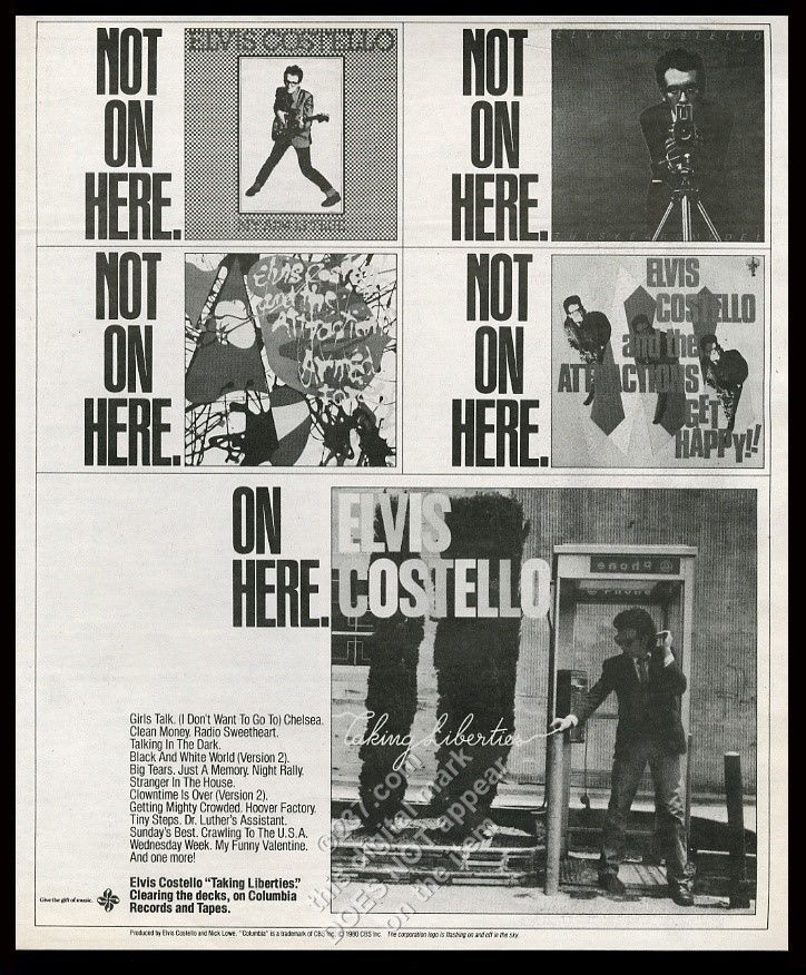 1980 Elvis Costello photo Taking Liberties album release… | Elvis