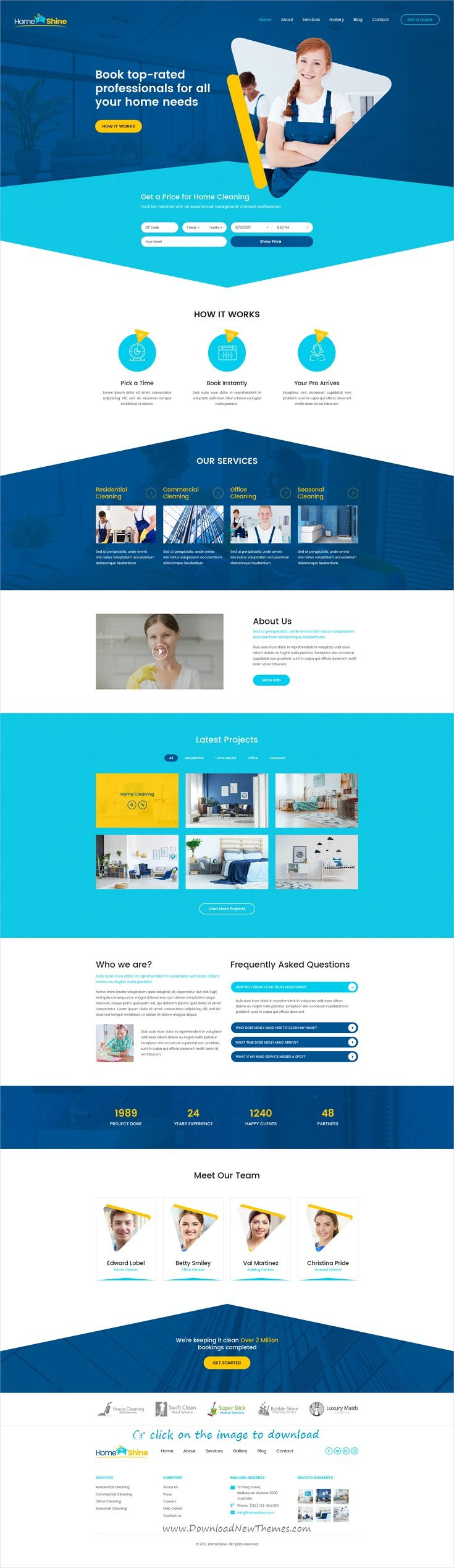 HomeShine is clean and modern design PSD template for #cleaning service company #website to download click on image.