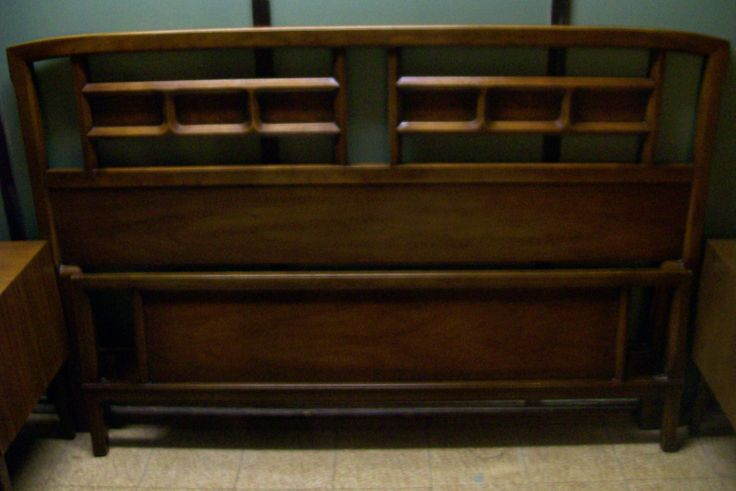 Midcentury full/queen bed complete with headboard, foot board and 2 side rails - $150.