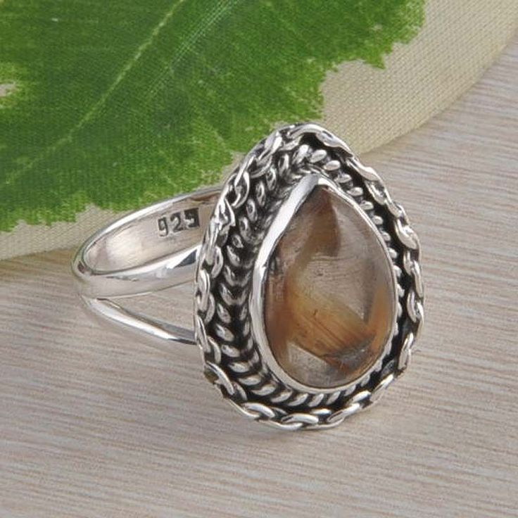 GOLDEN RUTILE 925 SOLID STERLING SILVER RING JEWELLERY 5.07g DJR2349 S-8.5 #Handmade #Ring