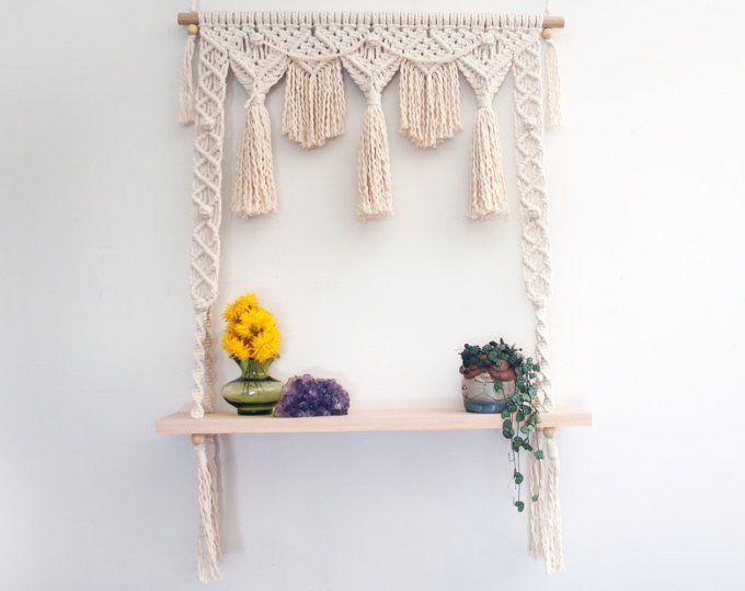 Hanging Shelf Macrame Pattern 6 Feet Tall Vintage Macrame Pattern Book Shelves Jute Cord Rope Hanging PDF Instant Download