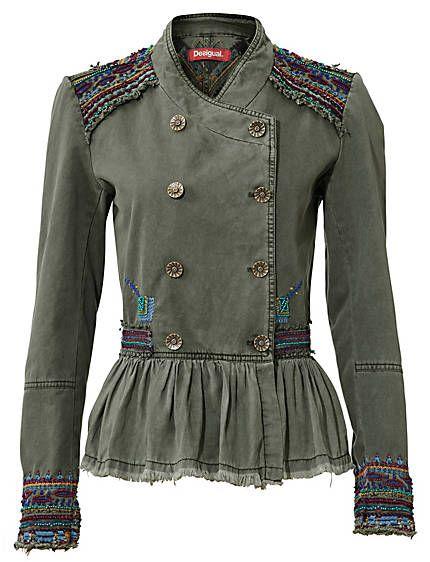 Desigual - Korte jas groen in de Heine online-shop short cotton blazer jacket olive green embroidery