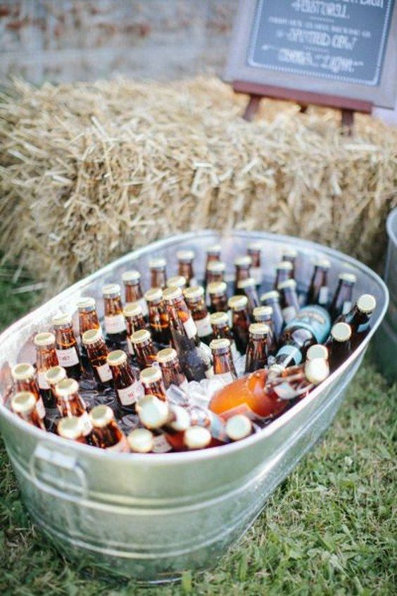 Libations wedding cocktail decor ideas / http://www.deerpearlflowers.com/rustic-buckets-tubs-wedding-ideas/