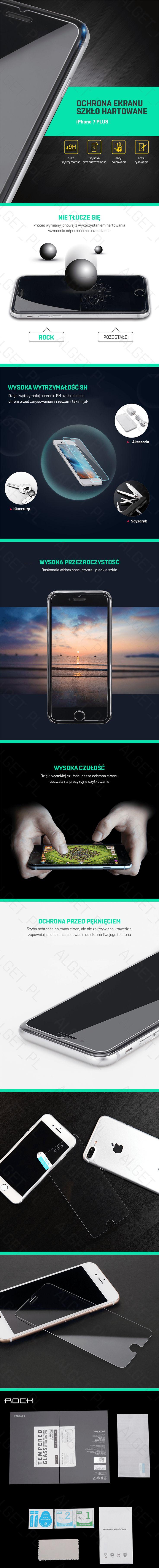 Przedmiotem aukcji jest szkło hartowane marki ROCK na wyświetlacz telefonu iPhone 7 PLUS. Warstwa szkła hartowanego ma zaledwie 0,3mm grubości oraz cechuje go bardzo wysoka twardość (9H) zapewniając dodatkową ochronę dla Twojego telefonu. Idealna przezroczystość szkła nie zmienia wyświetlanego obrazu pozostawiając jasny i żywy obraz oraz nie powoduje negatywnego wpływu na działanie dotyku. Zaokrąglone krawędzie zwiększają komfort użytkowania.