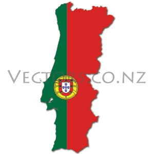 Flag Vector Map of Portugal