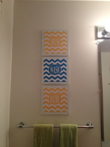 Free Printables And Great Tutorial For DIY Kids Guest Bathroom Chevron