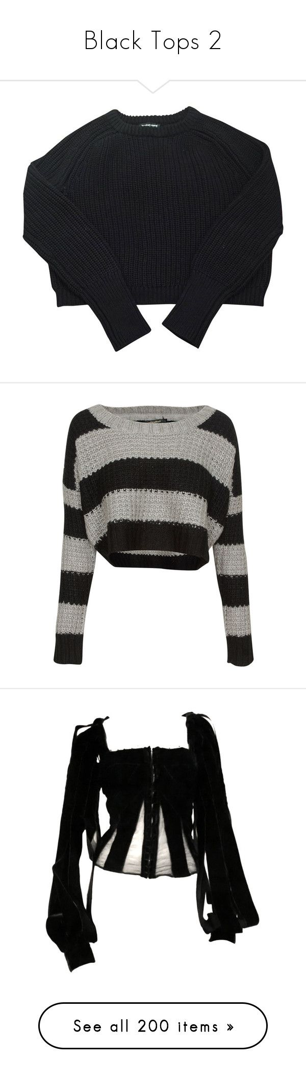 """""""Black Tops 2"""" by another-emily ❤ liked on Polyvore featuring tops, sweaters, clothes - tops, clothing - ls tops, american apparel sweater, american apparel tops, american apparel, knitwear sweater, cotton sweaters and shirts"""