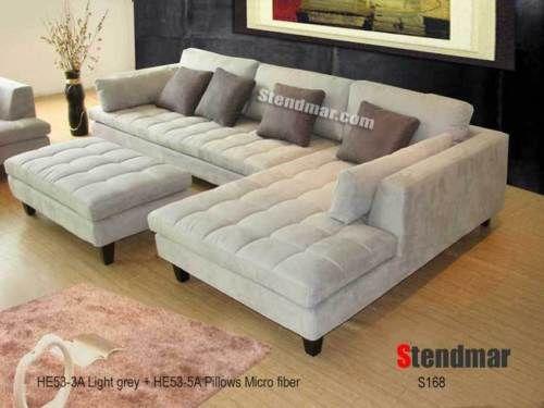 3pc New Modern Gray Microfiber Sectional Sofa S168GR | EBay